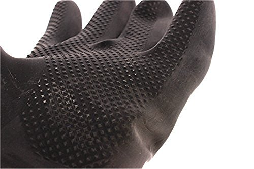 Katoot@ Powder Free Chemical Resistant Rubber Gloves Large Rolled Beaded Cuff,Acid Oil Resistant Working Hands 23.62 inch, Black 1 Pairs/Pack (Black) by Katoot (Image #1)