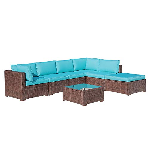 OC Orange-Casual 7-Piece Outdoor Sectional Sofa Wicker Furniture Set with Brown Rattan, TurquoiseSeat Cushions & Modern Glass Coffee Table | Patio, Backyard, Pool