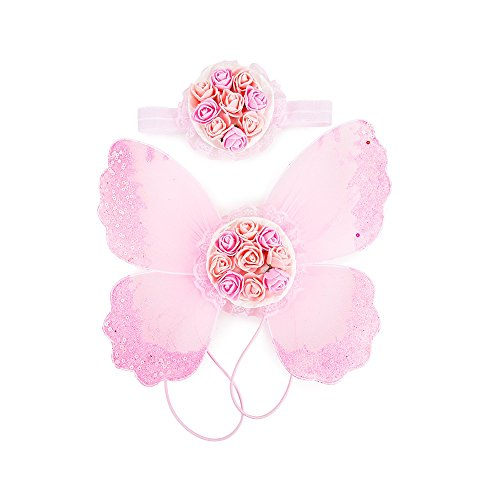 (Stock Show Pet Dog Beautiful Blingbling Butterfly Wing Harness and Flower Headdress Pet Dog Princess Sweet Harness Ornament Dog Puppy Flower Bowtie Hair Accessories for Small Medium Dogs, Pink)