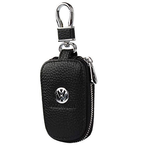 car Key Chain Keychain,Genuine Leather Car Smart Key caseKey Chain Keychain Holder Metal Hook and Keyring Zipper Bag for Remote Key Fob (Volkswagen)