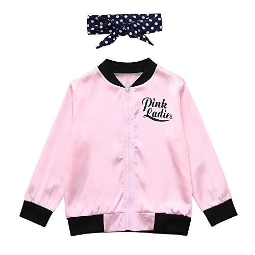 Ywoow ❤ Little Girls' Pink Ladies Print Jacket Child Retro 50S Zip Costume Scarf Coat (3-4 Years Old, Pink)