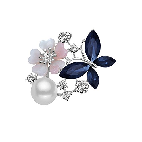 WLL Silver Plated Charm Red Blue Rhinestone Butterfly with Pretty Flower Pearl Brooch Pin Wedding Party Jewelry (blue)