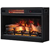 ClassicFlame 26'' 3D Infrared Quartz Electric Fireplace Insert Plug and Safer Sensor, Black
