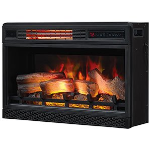 "ClassicFlame 26"" 3D Infrared Quartz Electric Fireplace Insert Plug and Safer Sensor, Black"
