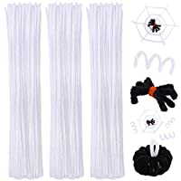 Cooraby Halloween Pipe Cleaners Craft Chenille Stems Colorful Pipe Cleaners Set for Halloween Supplies, 300 Pieces, Assorted 5 Colors (White)