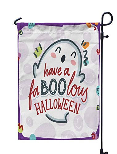 GROOTEY Flag Garden,Home Yard Decorative 12X18 Inches Pun Cute Smiling Ghost Character Have Halloween Drawn Art in Cartoon Style Design Greeting Card Double Sided Seasonal Garden Flags