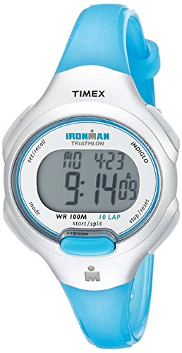 Timex Women's T5K739 Ironman Essential 10 Mid-Size Turquoise Resin Strap Watch (Kids Timex Watch Ironman)