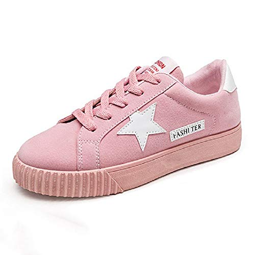 ZHZNVX Zapatos de Mujer Suede Fall Comfort Sneakers Flat Heel Round Toe Gris/Rojo / Rosa Pink