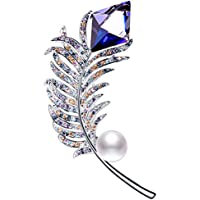 Rainbow Box Swarovski Crystal Jewelry Feather Brooch Pins with White Pearl
