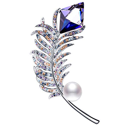 RAINBOW BOX Brooches for Women with Swarovski Rhinestone, Feather Brooch Pins for Mother Day