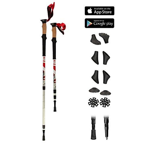 Trekking Stöcke Climber Wanderstöcke Teleskop 67 - 136 cm GRATIS - Nordic Walking/Fitness App