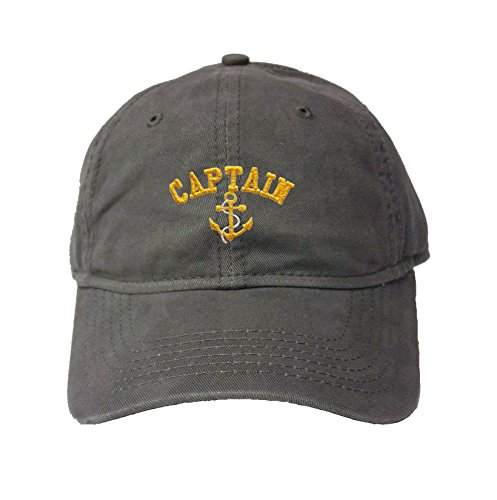 Adjustable Charcoal Adult Captain with Anchor Embroidered Deluxe Dad Hat]()