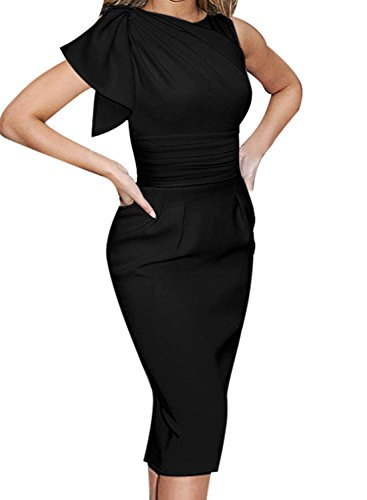 VFSHOW Womens Celebrity Elegant Black Ruched Cocktail Party Bodycon Sheath Dress 1057 BLK XS