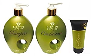 Keratin Express Daily Trio! Shampoo 10 oz, Conditioner 10 oz, Daily Keratin 2 oz. The Perfect Regimen for all Keratin and Color Clients. Factory Fresh with E-Commerce Authenticity Code! by Keratin Express