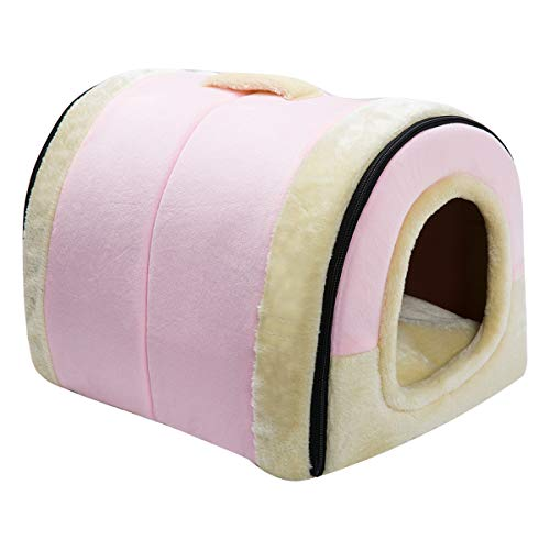 Hollypet Crystal Velvet Self-Warming 2 in 1 Foldable Cave House Shape Nest Pet Sleeping Bed for Cats and Small Dogs, Pink