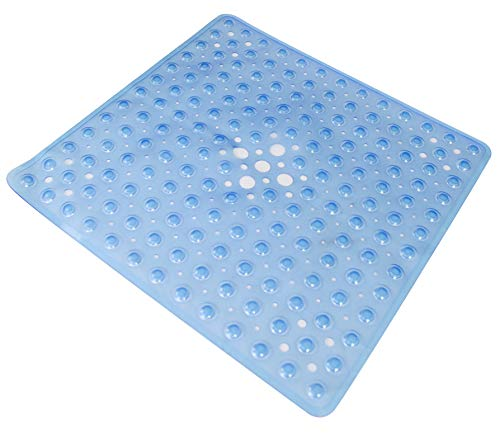 Essential Medical Supply Shower Mat with Drain, Transparent Dark Blue (Bathtub Essential Mat)
