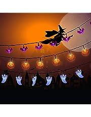 NEXVIN 3 Stuks Halloween Decoratie Lichtsnoer Aangedreven door batterijen, 2 modi, 3M 20LED Decoratieve verlichting voor Halloween Buiten Binnen (Witte geest/oranje pompoen/paarse vleermuis)