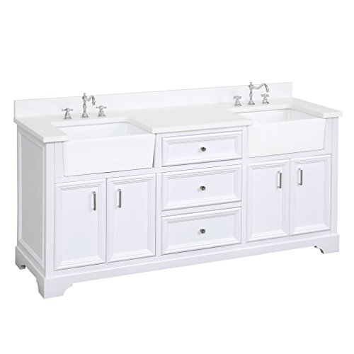 41XjKkUsM%2BL - Zelda 72-inch Double Bathroom Vanity (Quartz/White): Includes a Quartz Countertop, White Cabinet with Soft Close Doors & Drawers, and White Ceramic Farmhouse Apron Sinks