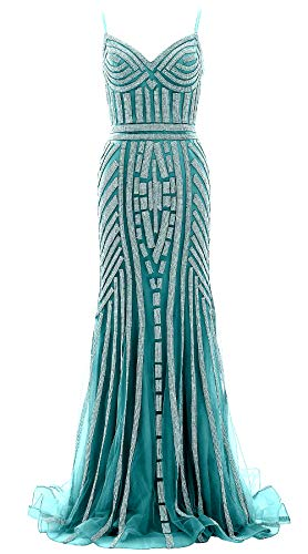 Jersey Long Gown Evening Macloth Crystal Prom Women Dress Beaded Turquoise Formal Mermaid EHD9I2