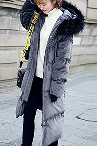 avec Manteau Grau Blouson lgant Parka clair Quilting Doudoune Hiver Fermeture paissir Longues Fourrure Capuchon Bouffant Spcial Facile Chaud Outdoor Femme Doudoune avec Style HwTqn55B