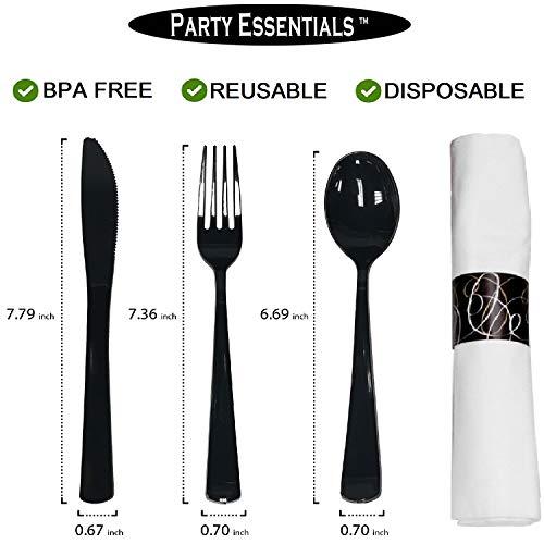 Party Essentials Premuim Disposable PreRolled Napkins with SpoonsForksKnives 25 Sets Black
