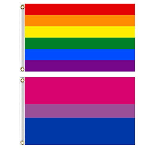Shmbada Rainbow Flag and Bisexual Pride Flag with Brass Grommets, Premium Polyester, Vivid Color Anti Fading, Indoor/Outdoor House Yard Porch Decor LGBT Banner for Pride Gay/Lesbians, 3x5 ft 2 Pack