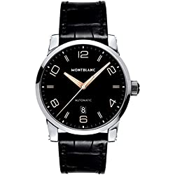 Montblanc Timewalker Automatic Black Dial Black Leather Mens Watch 110337