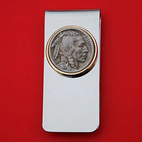 - US 1920 Indian Head Buffalo Nickel 5 Cent Coin Solid Brass Gold Silver Two Tone Money Clip New - High Quality