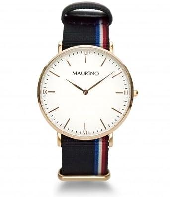 MAURINO Herren Armbanduhr Analog Quarz Textil Rose Gold 40mm M01615