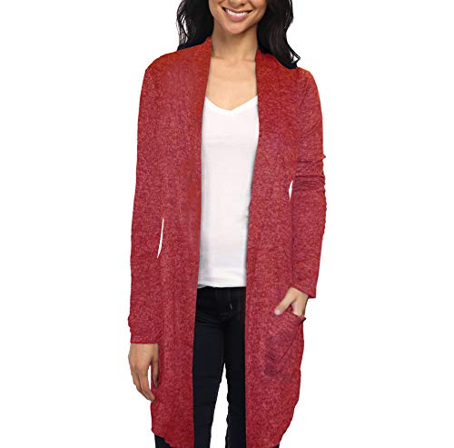 Womens Casual Open Front Drape Cardigan KSKW31127 G4000 RED -