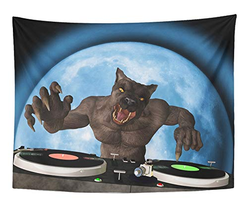 Emvency Tapestry Artwork Wall Hanging Blue Lycan Dj Werewolf is in The House and Mixing Up Some Halloween Horror Disc 60x80 Inches Tapestries Mattress Tablecloth Curtain Home Decor Print -