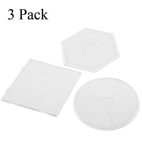 H&W 3PCS 5mm Fuse Beads Boards, Large Clear Pegboards Kits, Hexagon & Square & Round, with Gift 4 Lroning Paper (WA3-Z2)