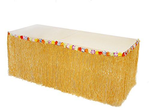 Luau Life Hawaiian Grass Table Skirt with Hibiscus Flower Trim, Plastic Clips Included for Extra Support, Perfect Luau Themed Decorations for Tiki Bars and Island Birthday Party Supplies, ()
