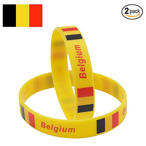 IDL World Cup Silicone Wristband, 2018 Russian World Cup Sports, Flag Bracelet | 2-Piece Set | 32 Countries Available | Unisex Design, Soft and Durable Wristbands, Non-Toxic (Belgium)