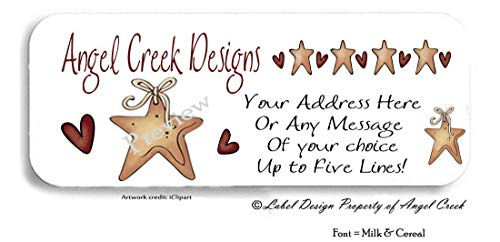 60 Primitive Country Stars and Hearts Personalized Return Address Labels ()