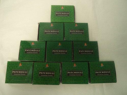 - Kamini Incense Cones: Patchouli - 10 Packs of 10 = 100 Cones