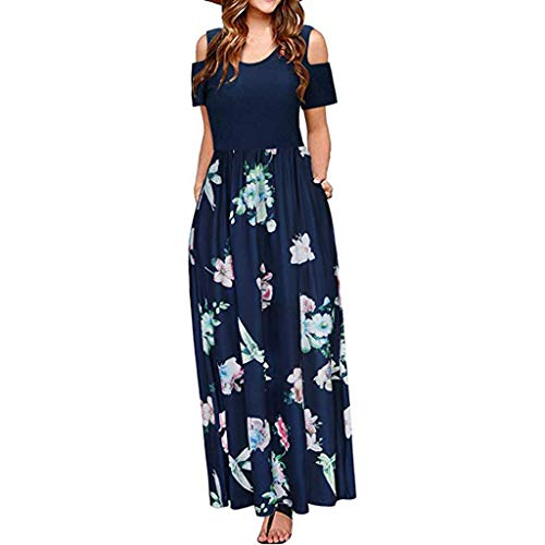 Qingell Women's Summer Cold Shoulder Floral Print Tunic Top T-Shirt Swing Dress Elegant Maxi Long Dress with Pocket
