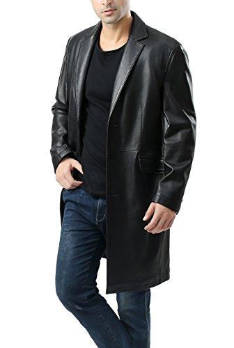 BGSD Men's New Zealand Lambskin Leather Long Coat - XXLT ()