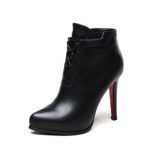 KHSKX-La Versión Coreana Del Nuevo Otoño Y El Invierno Es Bien Con Martin Botas Botas Botas Zapatos Zapatos De Tacon Alto Todo Partido Desnudo Femenino BotasTreinta Y SeisBlack