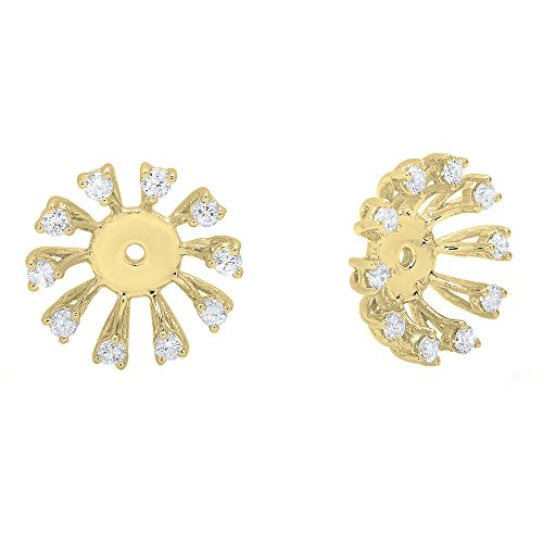 0.30 Carat (ctw) Round Diamond Removable Jackets For Stud Earrings 1/3 CT, 14K Yellow Gold 14k Gold Diamond Earring Jackets