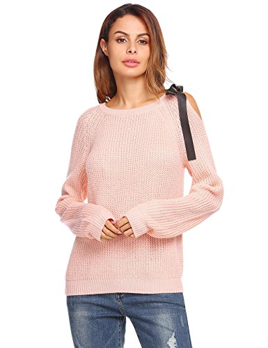 Zeagoo Womens Cold Open Shoulder Loose Knitted Sweater Top Blouse (Pink Bow Knit Sweater)