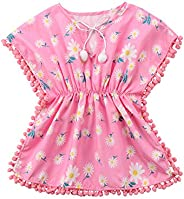Douhoow Toddler Baby Girls Swim Cover-up Beach Sundress Summer Poncho Rash Guards (Pink, 6-12M)