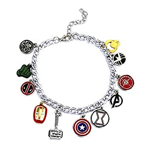 Super Heroes Charm Bracelet with 12 Assorted Multiple Character Logo Charms, Avengers Inspired Stylish Jewelry, Fantastic Fans' Collectible Jewelry Merchandise