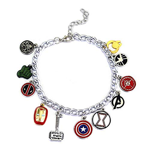 Super Heroes Charm Bracelet with 12 Assorted Multiple Character Logo Charms, Avengers Inspired Stylish Jewelry, Fantastic Fans' Collectible Jewelry Merchandise -
