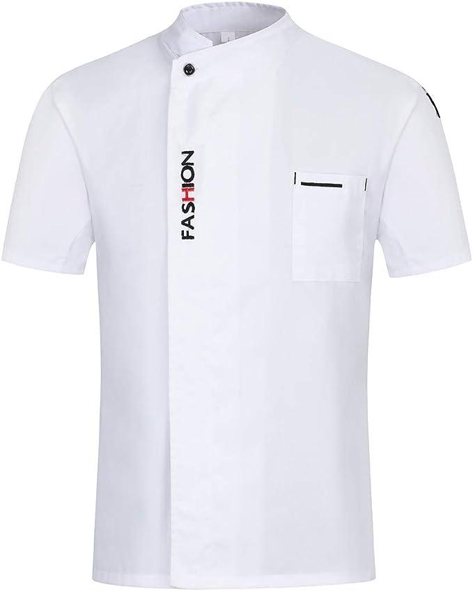 Freahap Camisa de Chef Cocina Manga Corta para Verano para Hombres y Mujeres, Chaqueta de Cocinero Camarero Diseño Clástico Transpirable y Cómodo: Amazon.es: Ropa y accesorios