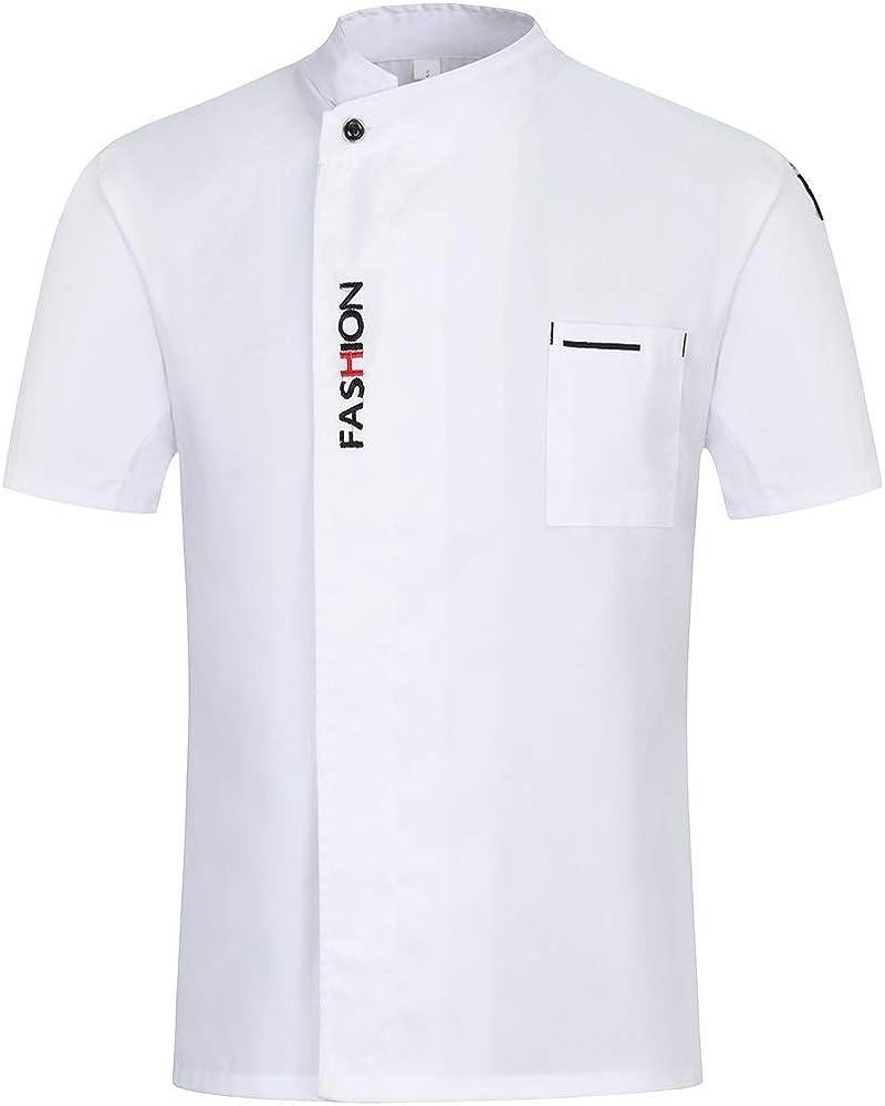 Pinji - Chaqueta de Cocinero Camisa de Chef de Manga Corta para Verano para Hombres y Mujeres, Transpirable y Cómodo: Amazon.es: Ropa y accesorios