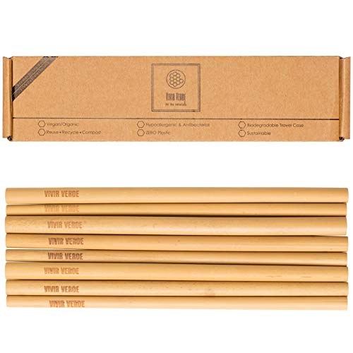 Reusable Bamboo Straws with Case| 8in long Biodegradable Wooden Set of 8 Straws & 2 Cleaning Brushes| Eco-Friendly Travel| Alternative to Plastic & Stainless Steel| Organic| Gift set| Waste less