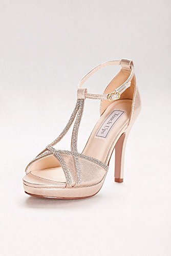 Davids Bridal Harlow Shimmer Peep-toe Tacchi Con Champagne Stile 4203 Strass