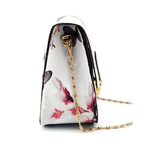 Outsta Butterfly Flower Printing Handbag,Women Shoulder Bag Tote Messenger Bag Phone Bag Coin Bag Travel Backpack Bucket Bag Classic Basic Casual Daypack Travel (White) by Outsta (Image #3)