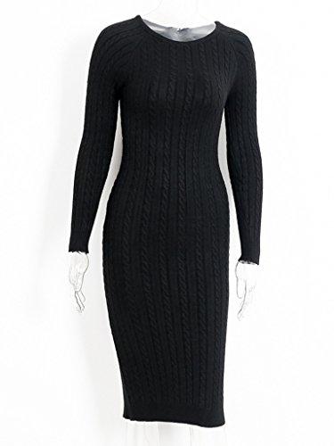 Mid Dress Sleeve Long Women's Split Simplee Apparel Black Length Ribbed Sweater xqXpzSw